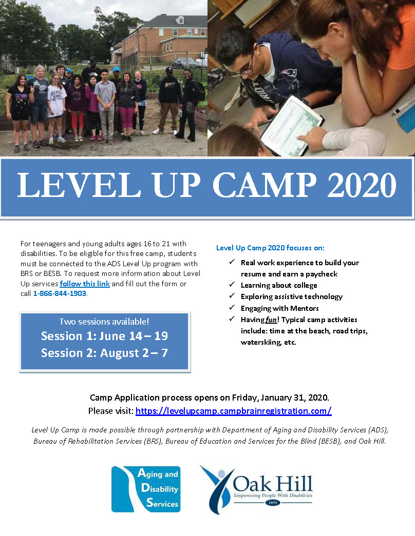 LEVEL UP CAMP 2020 flyer